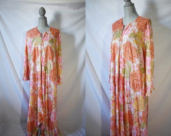 Vintage 70s Long Floral Dressing Gown 60s Mad Men Lingerie Bohemian Nightgown Hippie Lounge Wear Pajama Set House Dress Nightgown