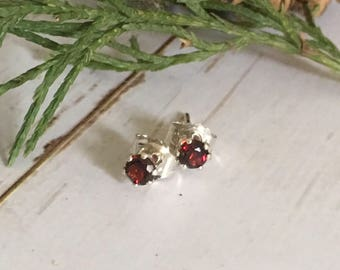Garnet Stud Gemstone Earrings