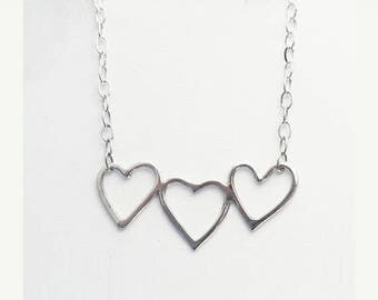 Summer sale 25% Off Sterling Silver Heart Necklace -  Everyday Jewelry - Simple Handmade Jewelry