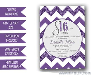 Purple Glitter Sweet 16 Invitations - Purple and Silver Sweet 16 Invite - Purple Glitter Sweet 16 Invitations - Elegant Sweet 16 - Trendy