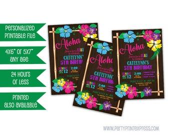 Printable Luau Birthday Invitation - Luau Aloha Birthday Invitation - Girl Pool Party Invite - Luau Party invites - Neon Hibiscus