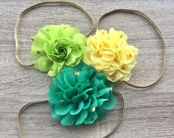 Baby Headband, Flower Headband, baby accessories, Girls Headband, Yellow and Green flowers, first birthday headband