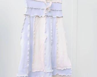 Long White and Ivory Upcycled T-shirt Skirt, XS/S, drawstring, black