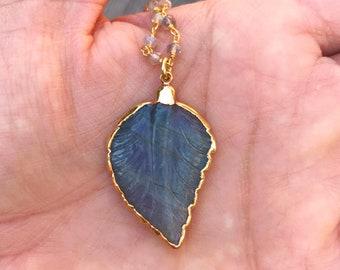 Labradorite Leaf Necklace // Labradorite Necklace // Labradorite Beaded Necklace