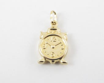 Alarm Clock Charm Three Dimensional 10Kt Yellow Gold Time Pendant