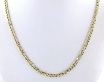 "Men's Cuban Chain 14k Yellow Gold Curb Women Necklace 20"" 7.2 grams"