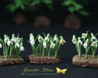 OOAK Snowdrops ~12th Scale~Cold Porcelain Flowers~ Dolls House Miniature~Fairy Garden~Handmade Miniature