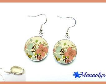 Blue and pink flowers glass 2311 cabochons earrings
