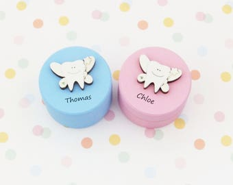 Personalised Tooth fairy box/hand painted/personalised box/tooth box/pinewood box/toothfairy box