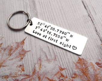 Custom Coordinate Keychain, GPS Coordinates Gift, Personalised Key Ring, Love at First Sight, Hand Stamped, Romantic Gift, Anniversary Gift