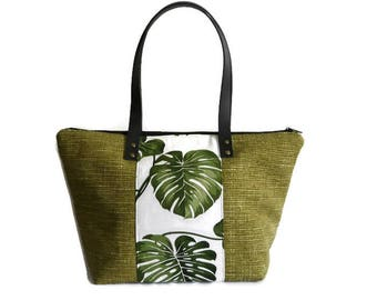 Trendy floral handbag, Monstera leaf tote bag, unique bag, zippered bag, green handbag  woman, small everyday bag, green purse, fabric bag