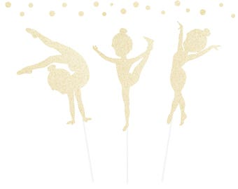 Gymnastics Cake Toppers - any color glitter - girl's gymnast toppers cupcakes