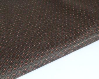 Brown, orange geometric cotton fabric by 50 cm