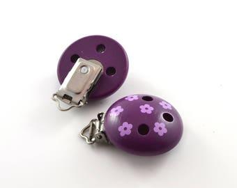 Flowers - purple pacifier clip