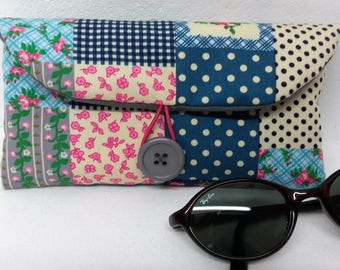 Pink Blue patchwork fabric glasses case