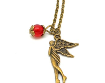 Bronze necklace, fairy and Red natural Pearl