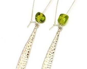 Earrings drop, Green Pearl Stud Earrings