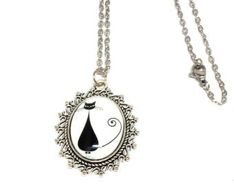 Black Cat on white pendant necklace