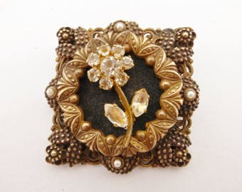 Made in Austria brooch pendant antiqued gold tone and rhinestones AA924