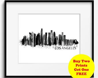 Los Angeles Watercolor Skyline Black and White Art Print (237) Cityscape California