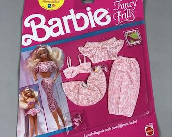 Vintage 1990 Mattel Barbie Fancy Frills Outit Clothes Pink Leopard Print // Style 3186