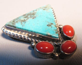Navajo Sterling Silver Brooch Pin w/Turquoise Triangle & Coral Cabochon Stones