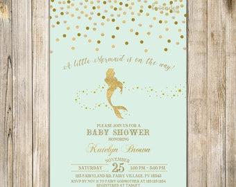 Mint Gold MERMAID BABY SHOWER Invitation, Confetti Little Mermaid Baby Sprinkle Invite, Magical Under the Sea Baby Girl Shower Invites LA23