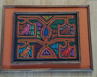Vintage Hand Stitched Mola Framed with Burlap Edges and Wooden Frame from Panama 24 x 17