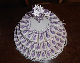 100 cake boxes ivory and purple