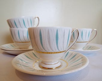 Pair of Queen Anne Caprice Coffee Cups. Retro 1950s English Coffee Cups, Two Pairs Available.  Stylish Turquoise And White Coffee Cups