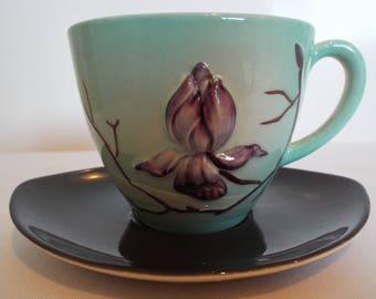 Vintage Carlton Ware Teacup, Australian Design. Hand Painted with Purple Magnolia Flower. Retro Turquoise Tea Cup, Great For A Tea Party