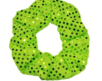 Neon Green Sequin Scrunchies Ponytail Holder (Free Shipping Worldwide) Hair Accessories Made in USA