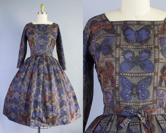 1950s Butterfly Print Cotton Dress | Small (35B/26W)