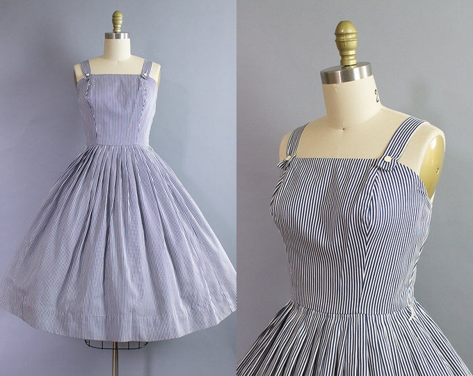 1950s Nautical Striped Sundress/ Extra Small (32b/25w)