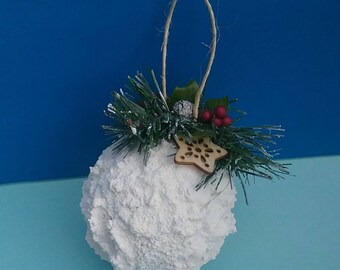 Snowball Ornament, Christmas Tree, Pine, Holly, Pine Cone, Tree Ornament, Winter Decor, Holiday Decoration, Rustic, Country, Handmade, Snow