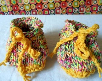Hand knitted multicolor cotton baby shoes