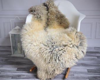 Genuine Rare Gotland Sheepskin Rug - Curly Fur Rug - Natural Sheepskin - Beige Gray Sheepskin #GOTWES8