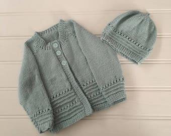 Hand Knitted Coat, Toddler Coat, Toddler Girls Coat, Girl's Coat, Knitted Coat, Coat and Hat set, Handknitted set,
