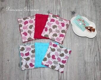 Set of 6 washable wipes, 13 X 14 cm, cotton bird facial, sponge, toiletries, baby, in STOCK