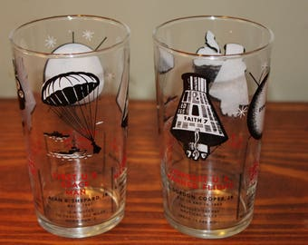 Pair of Vintage NASA Space Travel Drinking Glasses-1958-63 Old Astronaut Souvenir