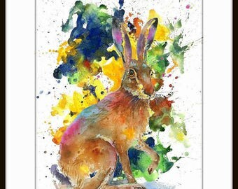 Watercolor Painting Print - 'RABBIT ' - Fall home decor and wall art -Art Print 095