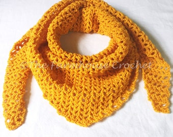 Lacey triangle scarf, lacey yellow shawl, lacey gold wrap, triangle scarf, crochet triangle scarf, crochet shawl, crochet wrap