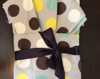 Polka Dot Oversize Swaddle Blanket and Burp Cloth Set