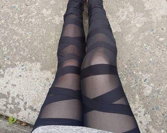 Medium - Peek-A-Boo/Mummy Wrap Leggings