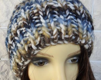 Hand Knitted Women's Blue, Brown And Cream Random Winter Hat With A Blue Pompom - Free Shipping