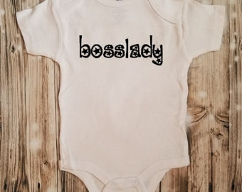 Bosslady Bodysuit - Baby Shower Gift - Baby Announcement - Baby Bodysuit - Girl's Baby Clothing - Gag Baby Gift - Baby Girl Boss Outfit
