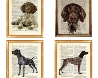Set of 4 Prints German Shorthaired Pointer Dog, beautiful selection of Dog Bread Art Print on Upcycled Dictionary Book page 8 x 10 inches