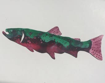 Hand Painted metal trout decor.