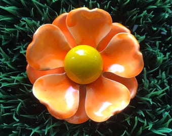 Enamel Flower Pin /  Brooch / Neon Orange and Yellow / 1960's Mod Fashion / Hippie Chic