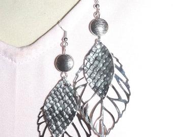 Earrings ' earrings Silver 925 leaf gray python leather